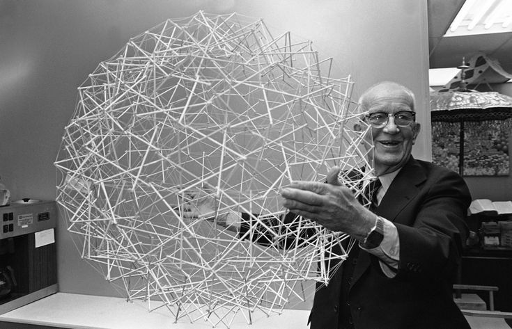 "Buckminster Fuller holds one of his inventions, a tensegrity sphere, made of rods and cables, proposed as the basis for floating habitats known as Spherical Tensegrity Atmospheric Research Stations (or ""STARS""), 1979. Fuller envisioned giant versions of the structure that were so light and strong that when they were filled with hot air, they'd float above the Earth, supporting stations up to a mile in diameter."