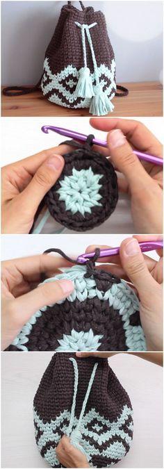 Crochet Beautiful Backpack Free Pattern [Video]