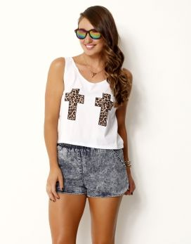 L CROSS* PRINTED CROPPED TOP - L CROSS* PRINTED CROP TOP WITH SCOOP NECKLINE - Placement Prints