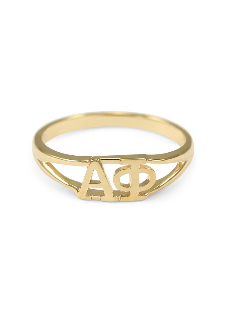 A gorgeous limited edition sunshine gold Alpha Phi (ΑΦ) ring made exclusively by us! The ring is solid brass with 14k gold plated finishing. The perfect gift for your big/little or even yourself! Plea