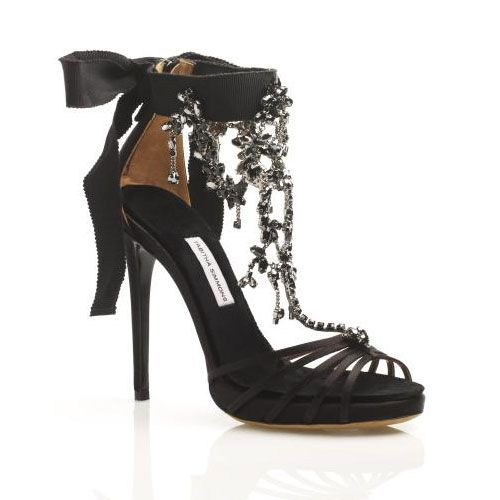 Chandelier Sandal with Ankle Tie and Crystal Choker in Black, $2,190