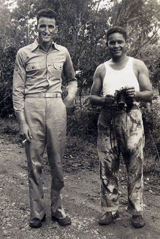 On the back of this photograph from Panama, Lt. Alvin Anderson identified the men as Corporal Keyes and Staff Sgt. Robles. 'Good fellows,' A...