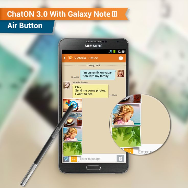 [ChatON Feature] ChatON v3.0 with Galaxy Note Ⅲ-Air Button  Put your S pen and click the air button. The latest photos, videos, Anicon, and emoticon run across the screen without any touch of the screen!   [ChatON Feature] 갤럭시 노트 Ⅲ 특화기능 - 에어버튼  에어버튼으로 스크린을 터치하지 않고도 최근에 내가 생성한 사진, 동영상 또는 최근에 보낸 애니콘, 이모티콘을 바로 찾아 보낼 수 있어요 곧 출시 예정인 갤럭시 노트 3과 ChatON을 기대해 주세요!