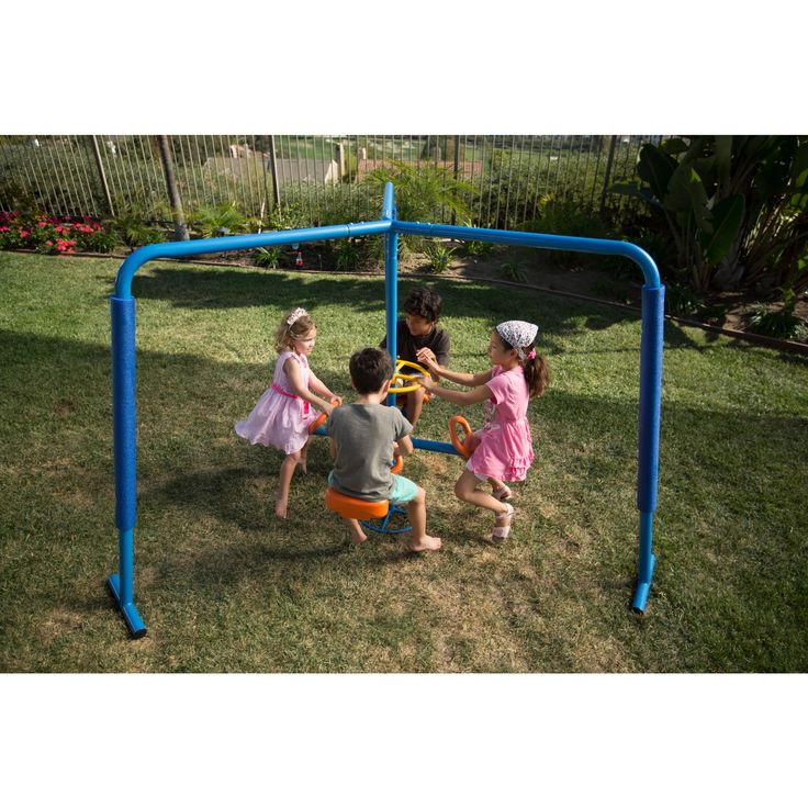 One benefit of children using the Ironkids Four (4) Station Fun Filled Merry Go Round is that is givers kids frequent physical activity. This toy is a great addition to your backyard swing set and will keep four (4) kids busy at the same time.