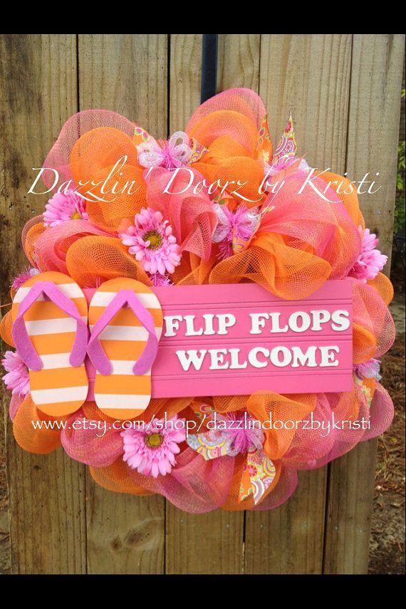 Pink and Orange Flip Flops Wreath by DazzlinDoorzbyKristi on Etsy, $75.00