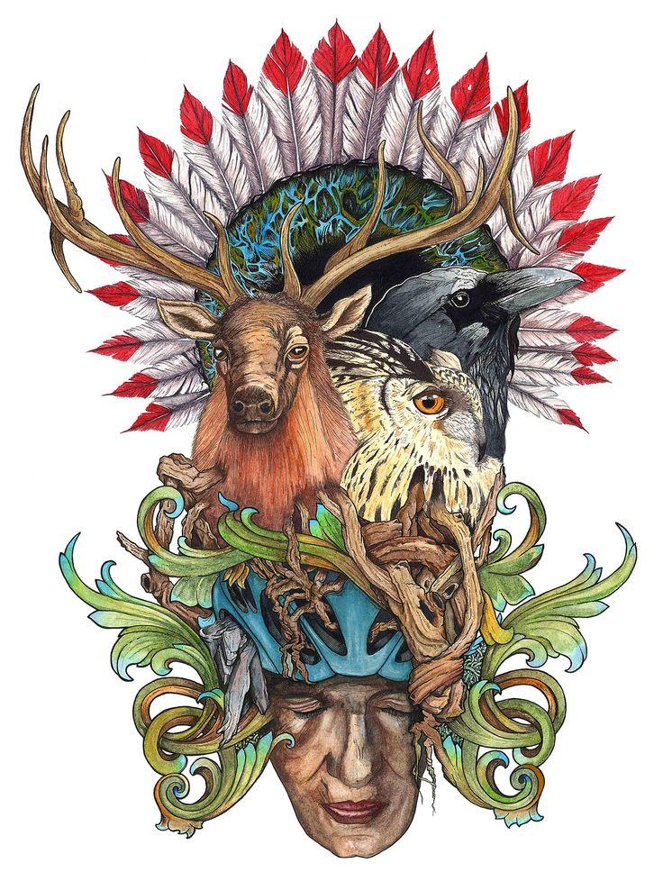 Encre et aquarelle, caribou, corbeau, hibou, racine, t-shirt, bike jersey, illustration, ink, watercolor, totem, elk, raven, swirl, feathers, howl, roots