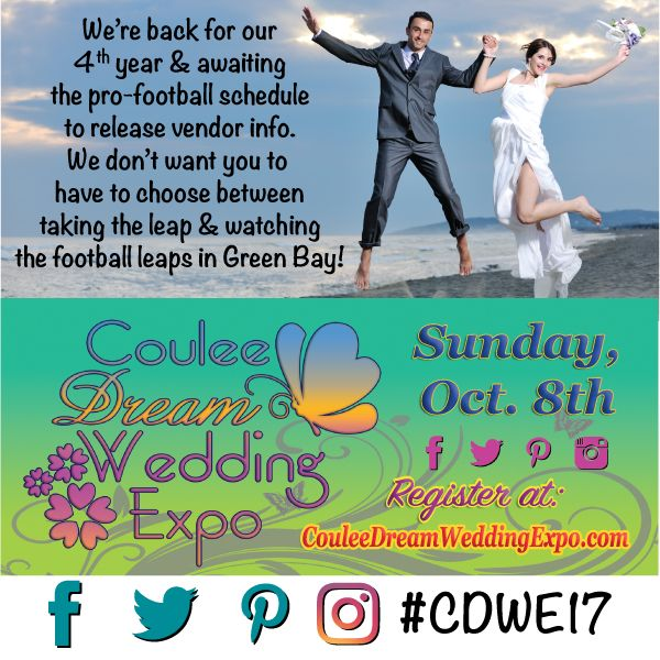 Are you getting married in 2017, 2018 or 2019? Plan for our 4th Wedding Expo Sunday, Oct. 8th 2017 at TBD! Wedding planning, vacation giveaway, prizes, fashions & more! Time TBA after the pro-football schedule is released.  Everything you are looking for to make your Wedding Day perfect & easy to plan! Have time to make personal connections with vendors who will be part of your big day!