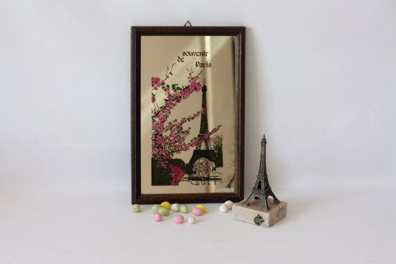 Souvenirs of Paris including a decorated mirror and a little Eiffel tower paperweight, French Paris Souvenirs, MariusetJeannette