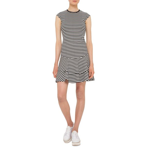 Akris Punto Striped Cap-Sleeve Flounce Dress ($1,190) ❤ liked on Polyvore featuring dresses, cream, frilly dresses, striped dress, cap sleeve dress, white jersey dress and striped jersey dress