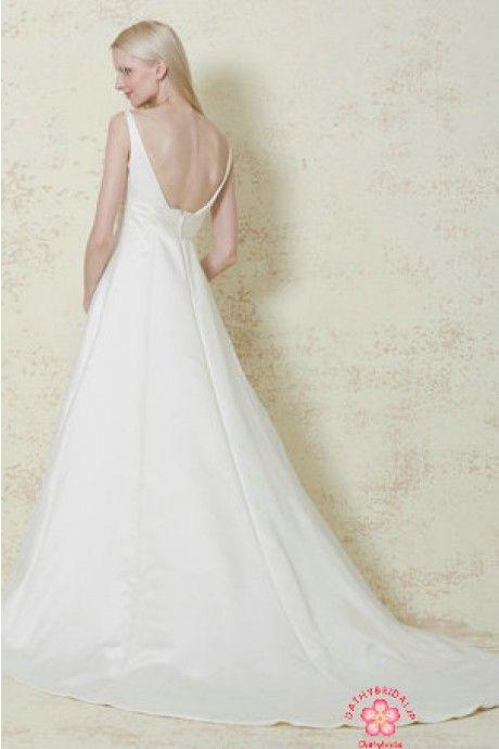 ストラップ サテン ノースリーブ A ライン チャペル ファスナー  結婚式 二次会 ドレス Hly0101 - P0101