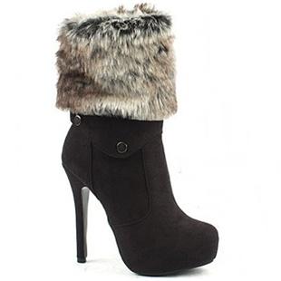 [SHOESONE.BIZ] 2174  Detachable Fur Suede Ankle Boots (13cm)