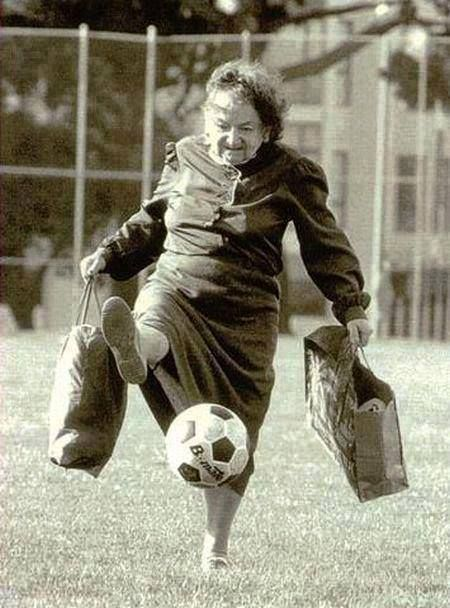....She kicked us around so much as kids that she turned out to be a world class soccer player when we left home..........( never misses an extra point too )