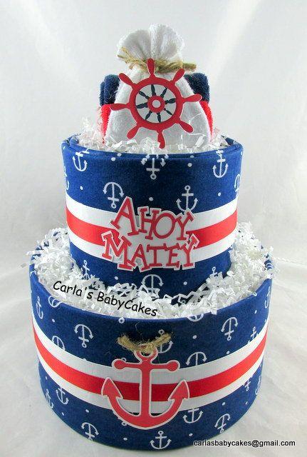 Nautical diaper cake  Baby shower decoration  Baby diaper