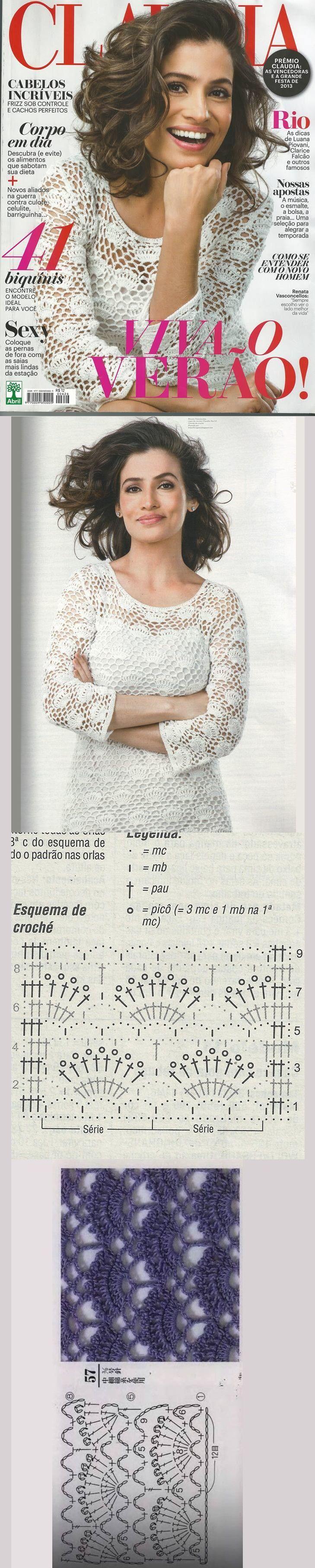 Renata Vasconcelos usando um vestido de crochê Lindo!! na capa da revista Claudia Nov/13.