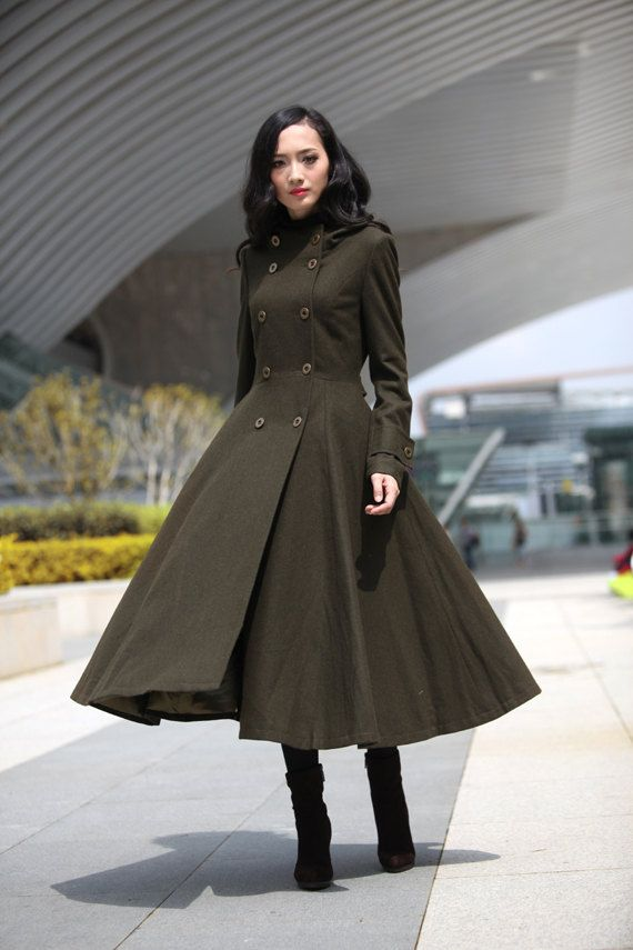 Army Green Cashmere Coat Big Sweep Double breasted Hoodie Wool Coat Winter Coat Long Jacket Tunic / Fast Shipping - NC500