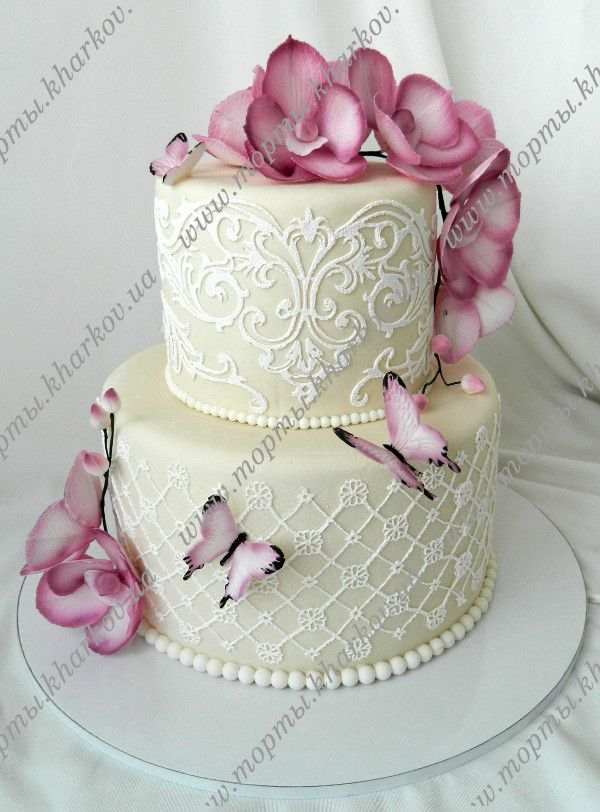 Торт с орхидеями свадебный