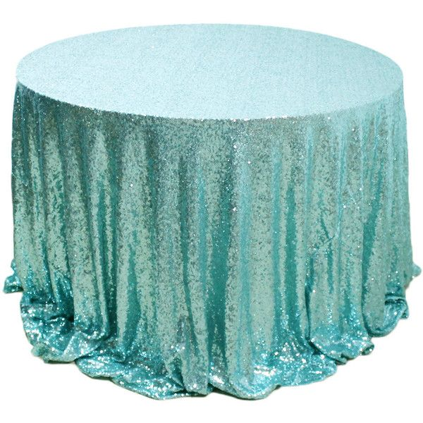 120 Round Mint Sequins Tablecloth for Wedding & Events (€41) ❤ liked on Polyvore featuring tops, silver, women's clothing, women tops, sparkly tops, green top, mint top and embroidered top
