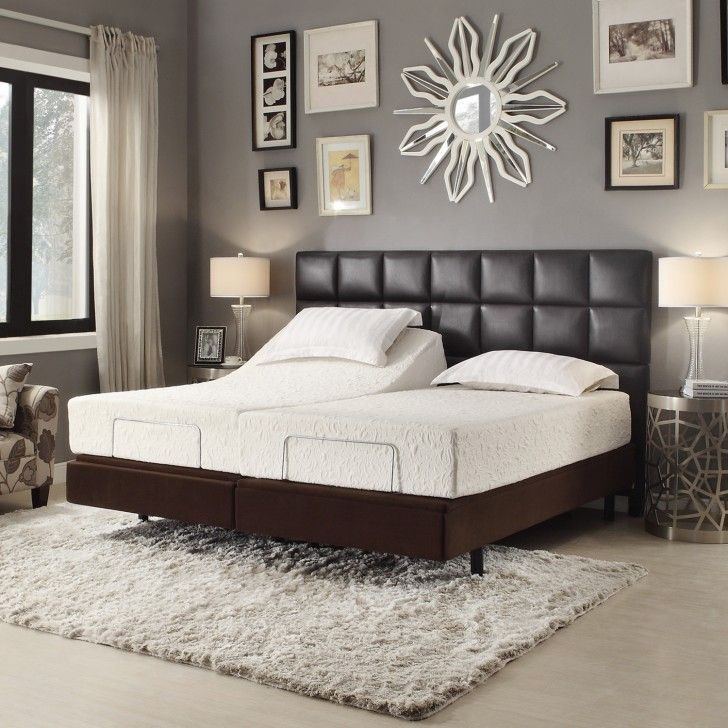 Interior Rectangle Black Leather Headboard With Brown Wooden Bed Having Double White Mattres Brown Furniture Bedroom Brown Headboard Bedroom Brown Leather Bed