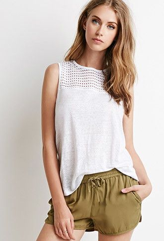 # relaxc# beach #casual Eyelet-Paneled Top |  - 2000076903