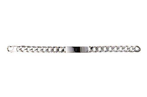 "11MM MENS Chunky Curb Link ID (Identity) Sterling Silver Bracelet - 8.5"" Inch - 11MM Width - GENTS Bracelet - Engravable"