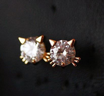 Cute Golden Kitty Rhinestone Fashion Earrings - LilyFair Jewelry