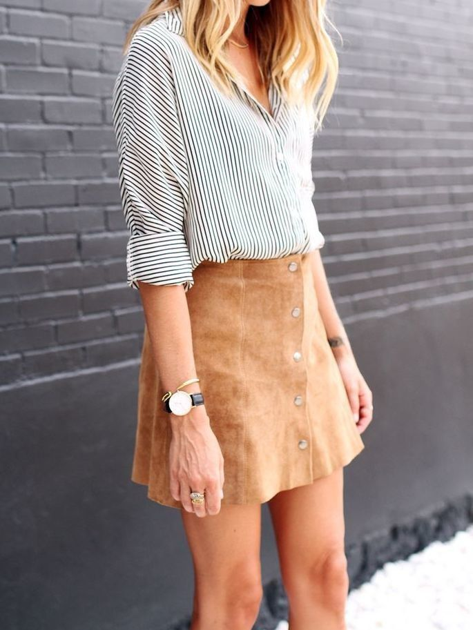button front suede skirt