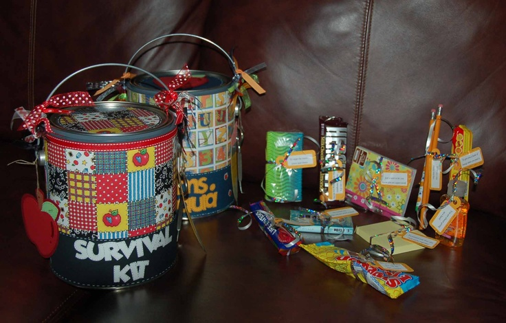 End of the year teacher appreciation?Gift Baskets, Classroom, Teachers Gift, Bus, Kits Pail, Gift Ideas, Teachers Appreciation, Teachers Schools, Teachers Survival Kits