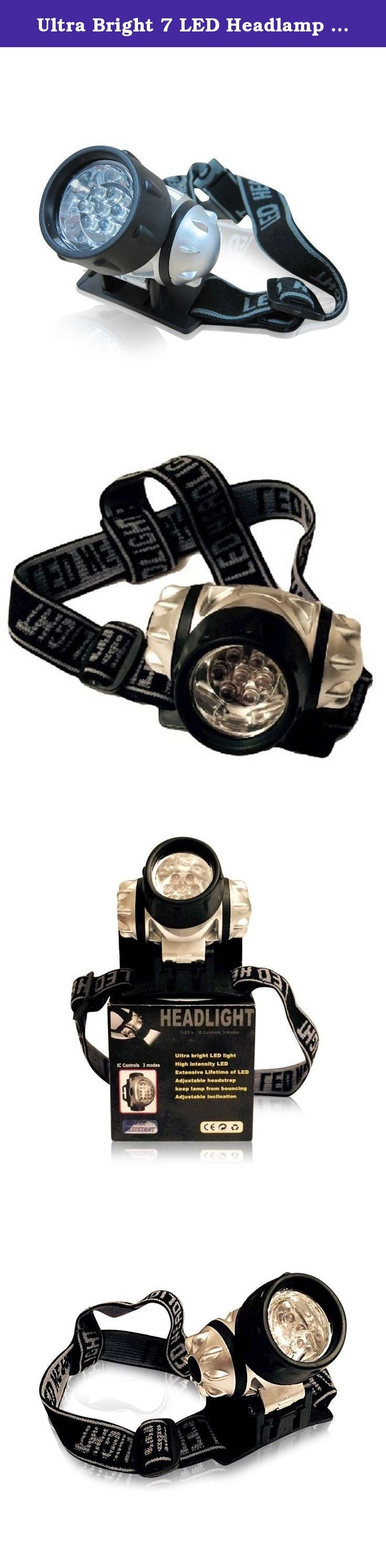 Ultra Bright 7 LED Headlamp - Night Vision Headlight - High Intensity - Comfortable - Water Resistant - Long Battery Life - Great for Running, Camping, Fishing, Reading and More - Tilting Lights - Adjustable Head Strap - Lifetime Guarantee!. Enjoy Great Hands-Free Lighting Versatility and Safely Illuminate your way in and out! Great to Illuminate your Night Time or Low Light Activities or Adventures. - Running, Walking, Biking - Hunting, Hiking - Fishing, Boating, Kayaking Easy to use and...