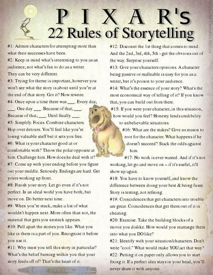 """Pixar's 22 Rules of Storytelling      Stolen from Beau Chevassus:  """"Some brilliant ideas that I just stumbled across, so I compiled them into a graphic."""":"""