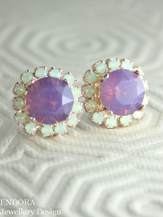 Crystal opal earrings | Mint and purple wedding | Swarovski crystal earrings |  www.endorajewellery.etsy.com