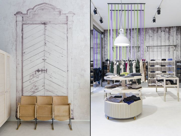 Современный интерьер в магазине модной одежды в Бергамо