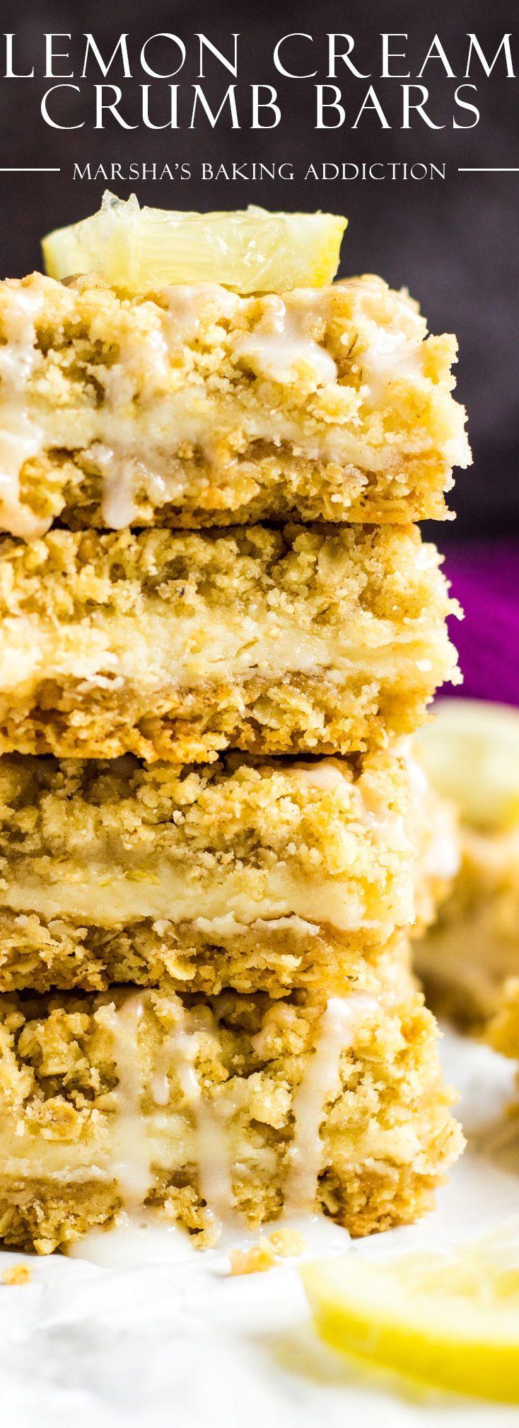 Lemon Cream Crumb Bars | marshasbakingaddiction.com @marshasbakeblog