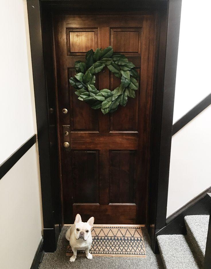 Apartment Front Door /  Magnolia Wreath /  French Bulldog