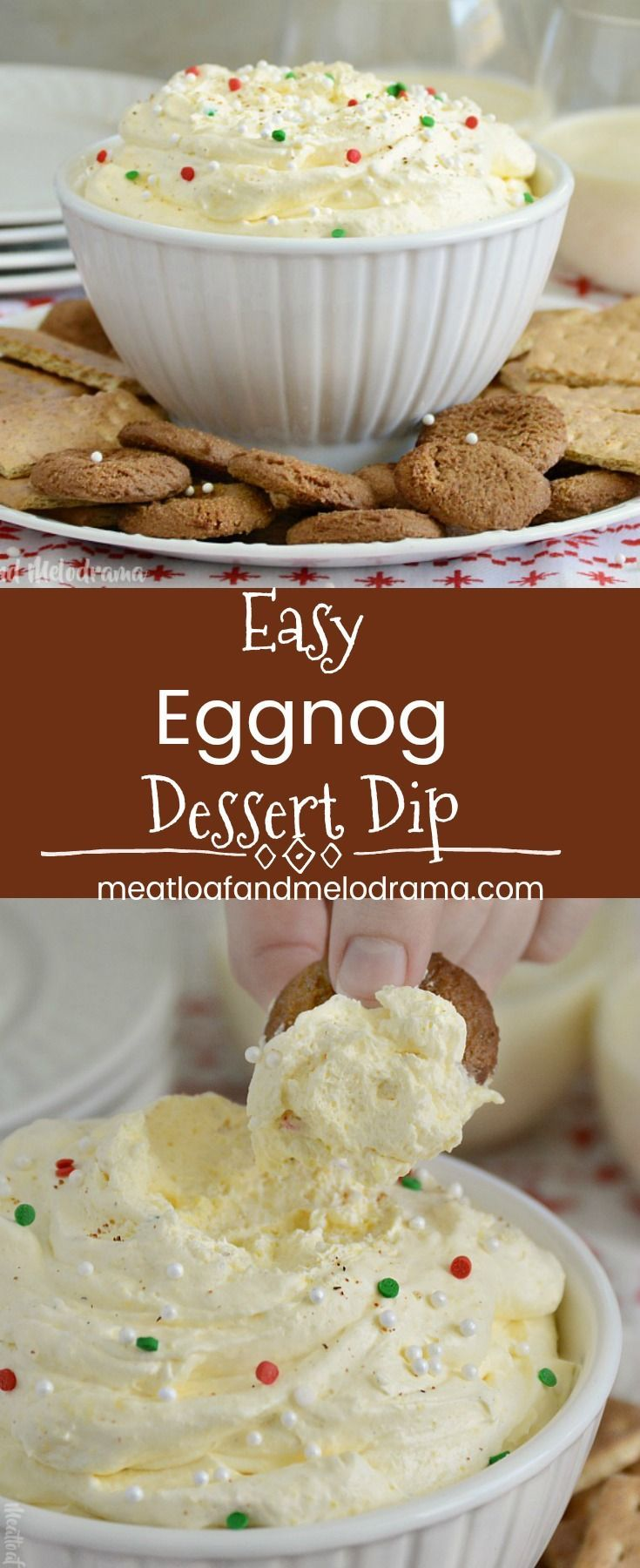 Easy Eggnog Dessert Dip - A quick and easy appetizer made with only 4 ingredients and perfect for Thanksgiving, Christmas or holiday parties and dinners. from Meatloaf and Melodrama #appetizers #holidays #party