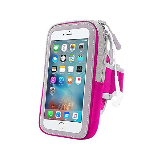 #ADDBOK Waterproof Sports Armband Bag with Key Holder Wallet Card Slot for for iPhoneSamsung Galaxy Note Series Sweat-Proof Adjustable Reflective Workout (rose red)