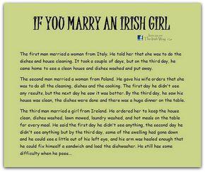 If you marry an Irish girl