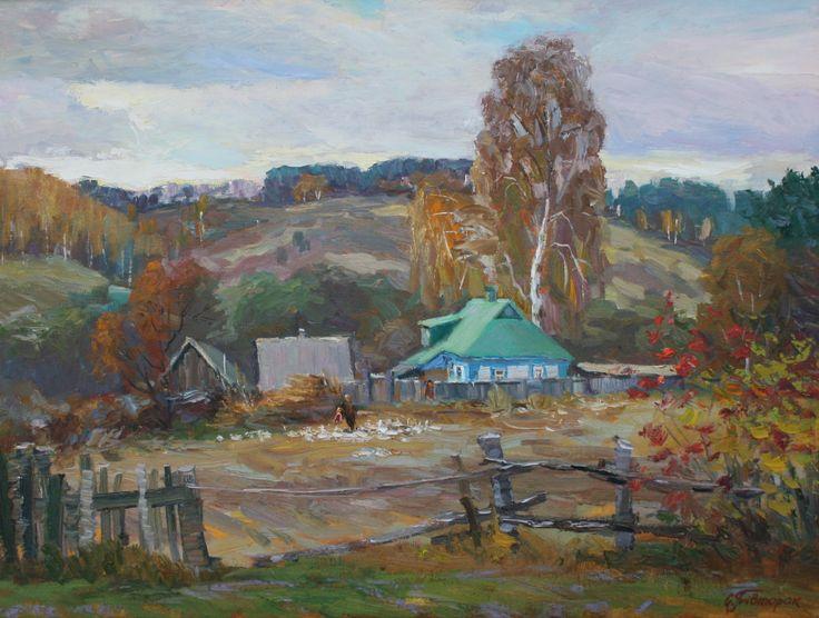 Village Landscape Autumn by sergeypivtorak on Etsy