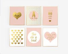 Blush Nursery Gallery Wall - Blush Pink and Gold Prints with personalized name, Nursery Print Decor, Pink Girl nursery, Faux Foil by StorybirdPrints on Etsy https://www.etsy.com/listing/233963121/blush-nursery-gallery-wall-blush-pink
