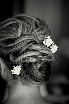 #Wedding #Hair. bun with flower.  Bun. Wedding hair with flowers flower accents hair accessories