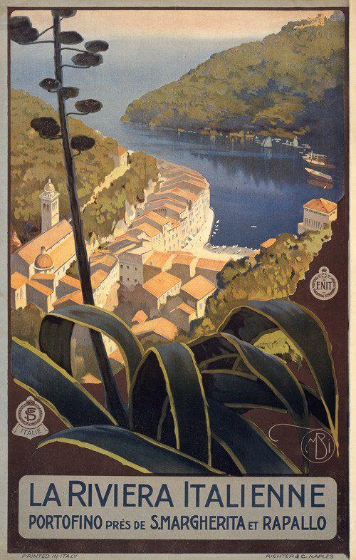 La Riviera Italienne. Portofino près de S. Margherita et Rapallo. The Italian Riviera. Portofino near Santa Margherita and Rapallo. Vintage Italian travel poster, circa 1920. This poster shows the Ita