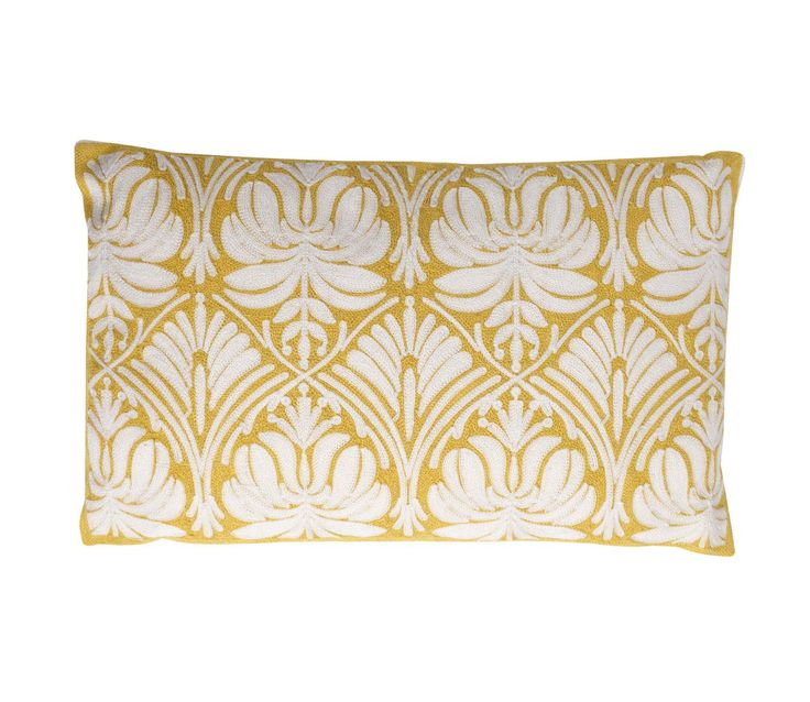 We're sure you'll love the arts and crafts inspired pattern of this yellow and white crewelwork cushion just as much as we do.  Priced at £15.