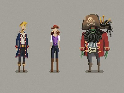 Finished the re-pixelation of the three main characters in Monkey Island.