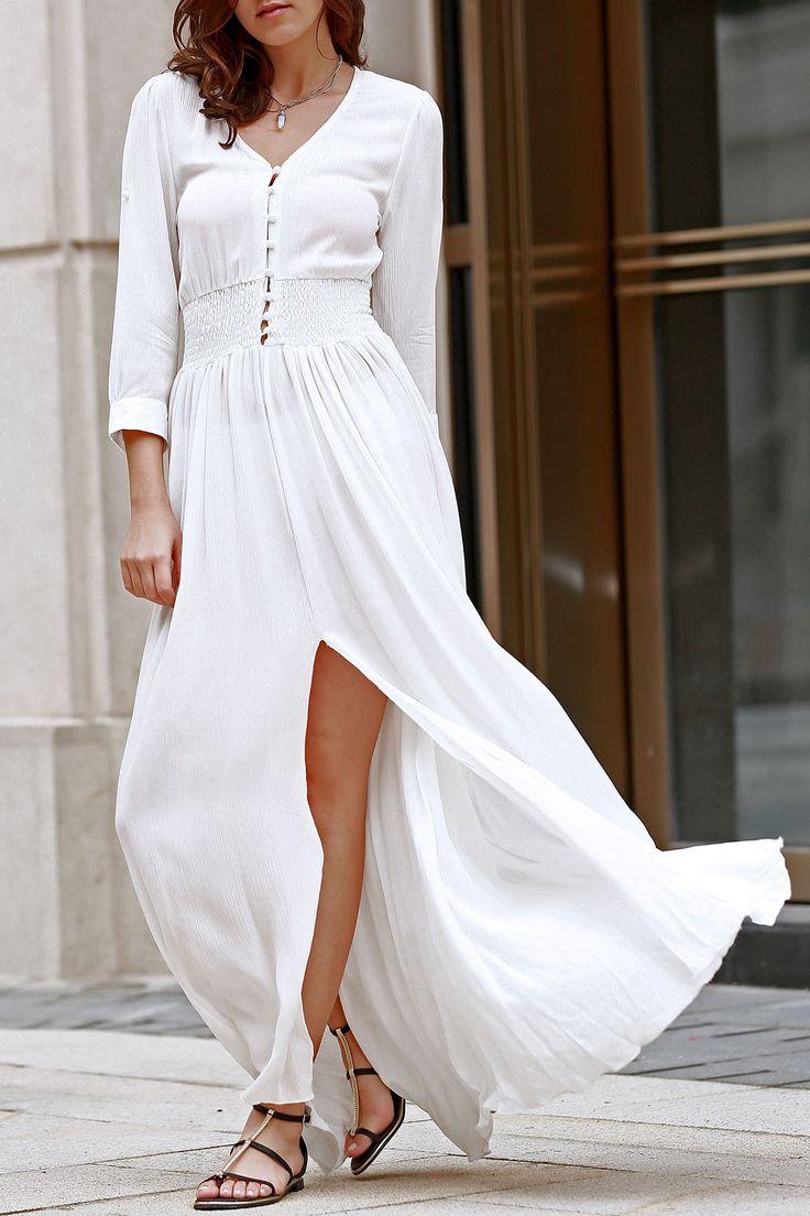 White V Neck 3/4 Sleeve Slit Maxi Dress