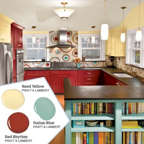 Balance three paint colors by choosing graduated saturations; the energetic red in this kitchen is bright, the blue is a mid-tone, and the yellow is a softer shade. Colors: Italian Blue, Red Rhythm & Reed Yellow by Pratt & Lambert