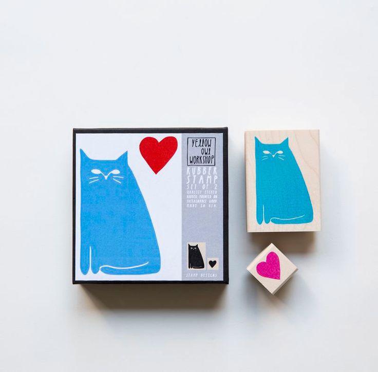 Kit de sellos Gato y Corazón