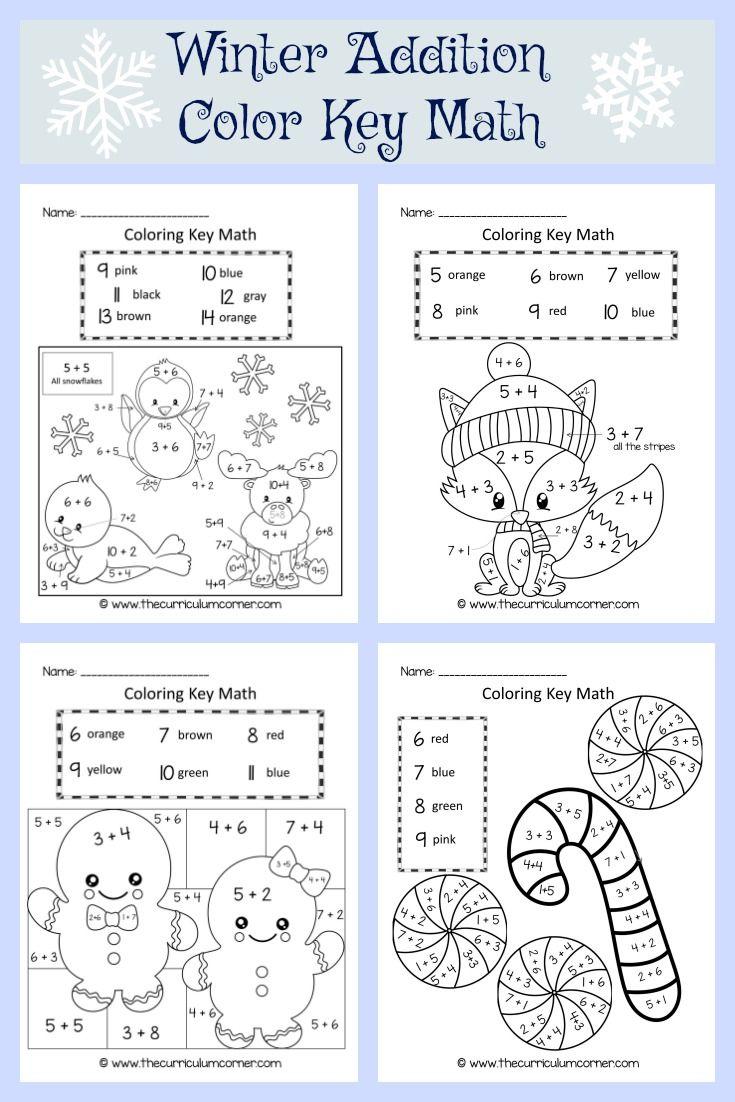 Winter Coloring Key Math Christmas Math Worksheets Winter Math Worksheets Winter Math [ 1102 x 735 Pixel ]