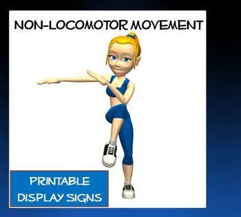 Non-Locomotor Movement- Printable Display Signs   Bending ...