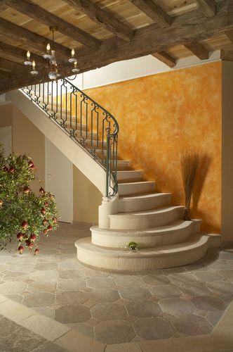 Escalier quart tournant maçonné en pierre HABILLAGE AUBEROCHE BANC 3 OCCITANIE PIERRES