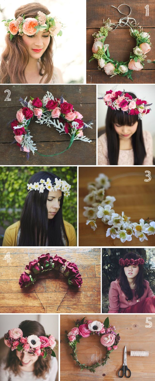 5 DIYs: Floral Crowns. Re-pin if you like. Via Inweddingdress.com #DIY #crowns