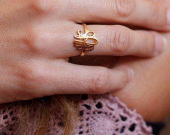 Gouden Monogram Ring, Gold eerste Ring, Gold brief Ring, Gold dunne ring, gouden dunne Band Ring van aangepaste, gepersonaliseerde Gift, bruidsmeisje Ring